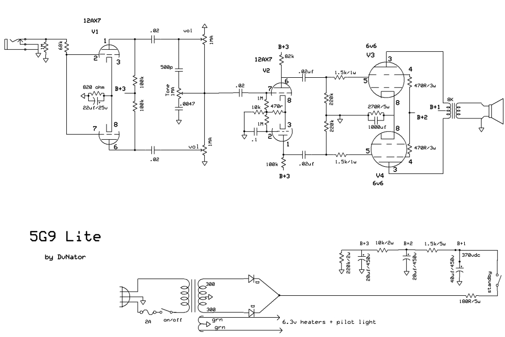 the sangria | dvnator's amp projects, Schematic